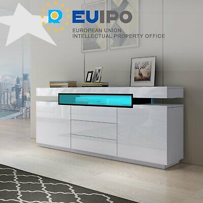 £149.99 • Buy Sideboard Storage Cabinet High Gloss 2 Doors 3 Drawers TV Stand Unit LED Light