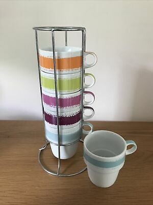 £6.50 • Buy Next Mugs - Set Of 6 Small Stacking Mugs / Cups In Holder- Great Condition