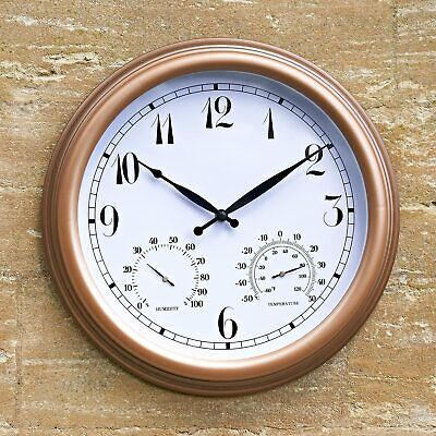 £13.95 • Buy Multi Functional Outdoor Garden Wall Clock With Thermometer & Humidity Meter