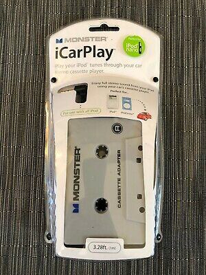 £11.59 • Buy Monster ICarPlay Cassette Tape Car Adapter For IPod Mp3 & IPhone NEW SEALED NOS!