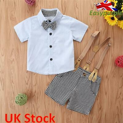 £11.49 • Buy Toddler Baby Boy Gentleman Outfit Formal Party Wedding Bowtie Shirt Shorts Suit