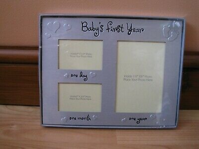 £3 • Buy  New Photo Frame Baby's First Year  Brushed Silver Colour Holds 3 Photos