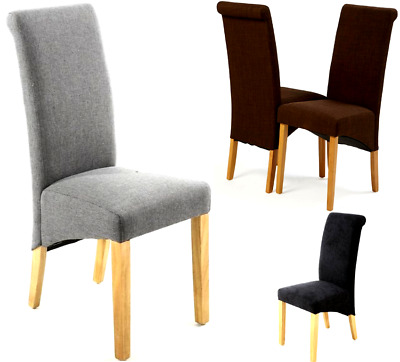£72.99 • Buy Set Of 2 Linen Fabric Dining Chairs Roll Top Scroll High Back Cushioned Seat New