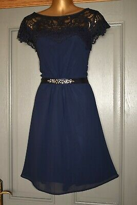 AU2.39 • Buy Monsoon Navy Blue Lace Formal Evening Wedding Occasion Party Dress Size 12