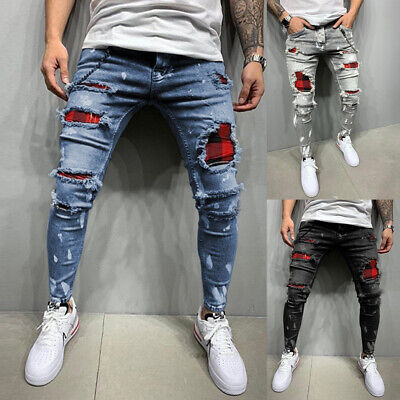 $35.69 • Buy Mens Denim Jeans Contrast Ripped Slim Fit Cuffed Casual Distressed  Trouser Blue