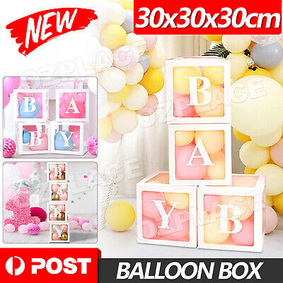 AU16.85 • Buy 4Pcs/Set Balloon LOVE BABY Box Cube Clear Boxes Birthday Baby Shower Party Gift