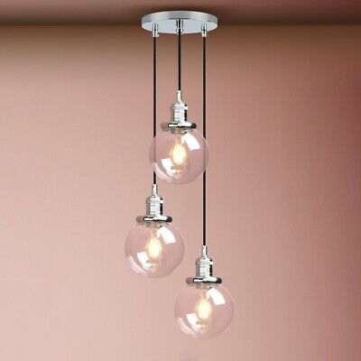 £89.95 • Buy Cluster Of 3 Retro Ceiling Pendant Light Clear Glass Shade Rustic Hanging Lamp