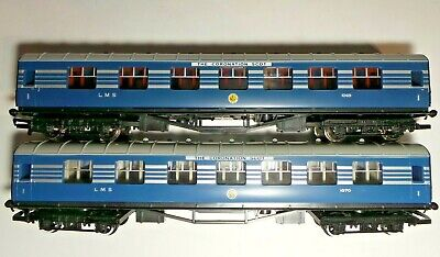 £59 • Buy MINT Pair Of Hornby OO Blue LMS Composite Coaches Coronation Scot 1069 & 1070