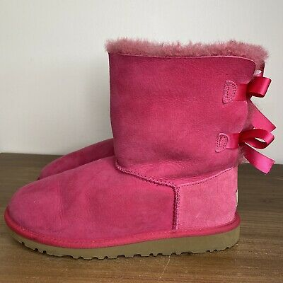 £42.95 • Buy UGG Boots Bailey Bow Pink Boots Shoes Women's Size 6 Genuine Sheepskin Leather