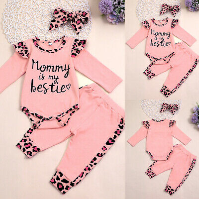 £9.99 • Buy Newborn Baby Girls Printed Romper Tops Jumpsuit Outfits Clothes Pants Headband