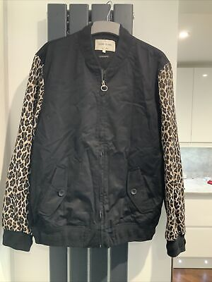 £10 • Buy Mens Black Bomber Jacket With Leopard Print Sleeves River Island Size Large
