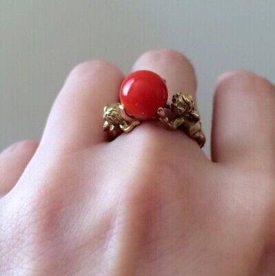 £500 • Buy Vintage Red Coral And Hallmarked 18ct/18k Yellow Gold Ring, Size I