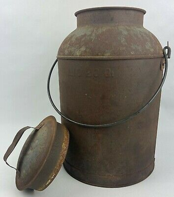 $39.99 • Buy Vintage 20 Quart Metal Milk Bucket Pail With Lid And Carry Handle