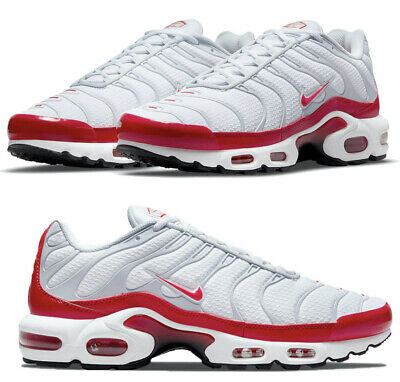 $169.99 • Buy New NIKE Air Max Plus TN Men's Athletic Sneakers White Gray Red Sizes 8-11