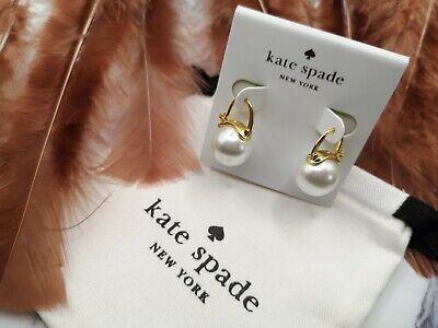 $ CDN34.62 • Buy Brand New Kate Spade Pearl Hanging Leverback Earrings With Kate Spade Pouch Bag