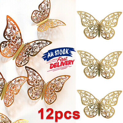 AU5.85 • Buy 12Pcs Butterfly Wall Decal Decorations Art Decor 3D DIY Stickers Decal Home Room