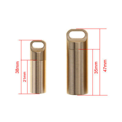 $4.99 • Buy Waterproof Bottle Holder Brass Container Keychain Keyring Pill Box Case