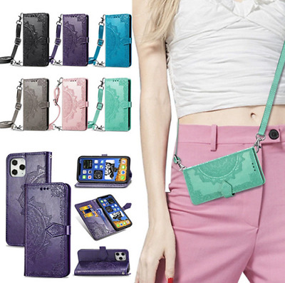 AU22.89 • Buy Crossbody Card Wallet With Long Rope Holder Flip Leather Phone Bag Case Cover