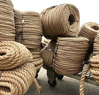 £0.99 • Buy 100% Natural Jute Hessian Rope Cord Three-Strand Twisted Boating Garden Gym UK