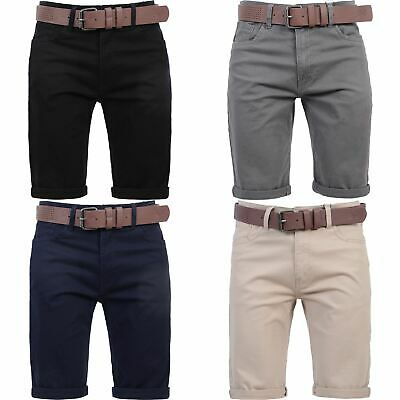 £14.39 • Buy New Mens Crosshatch Belted Chino Shorts Knee Length Cargo Combat Pants Cotton
