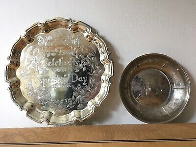 £5.95 • Buy Cavalier Silver Plated 'Special Day' Tray 'Happy Anniversary' On Brass. Butler