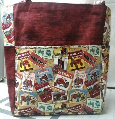 AU68.64 • Buy Tractor Farmall Logo Red Farming Country Large Purse Project Bag