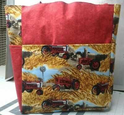 AU68.64 • Buy Farmall Tractors Red Fields Farming Country Large Purse Project Bag Handmade