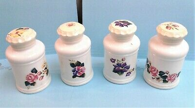 $22 • Buy 4 Vintage Milk Glass Spice Jars With Lids And Floral Decals