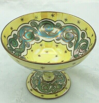 £145 • Buy Art Nouveau Antique Wedgwood Lustreware Bowl- Yellow Stars And Laurel Scroll