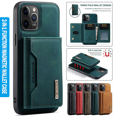 AU17.89 • Buy For IPhone 13 12 11 Pro Max 8/7/SE XR XS 2in1 Magnetic Case Leather Wallet Cover