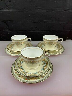 £29.99 • Buy 3 X Aynsley Henley Tea Trios Cups Saucers And Side Plates Set