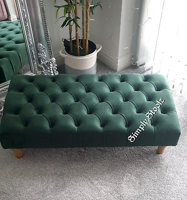 £99 • Buy Emerald Green Large Chesterfield Footstool  Coffee Table Bench