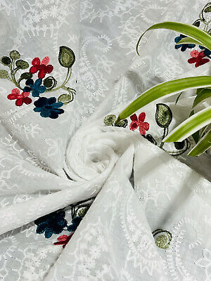 """£7.99 • Buy Broderie Anglaise On Cotton Lawn Fabric, Embroidered 56"""" Wide."""