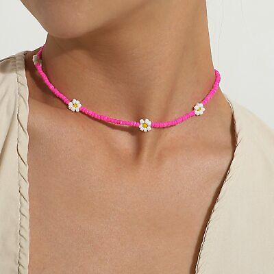 £4 • Buy Trendy 4mm Opaque Seed Bead Daisy Flower Choker Necklace For Summer/casual Wear