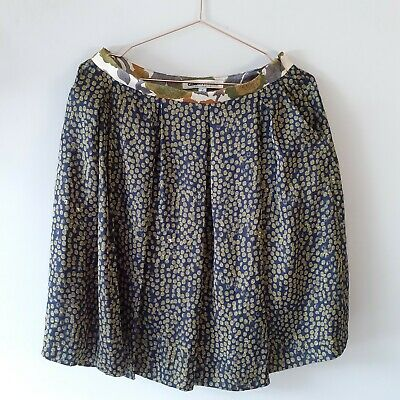 £11.99 • Buy Clements Ribeiro Size 12 Satin Wide Pleat Skirt Dots Print Fully Lined