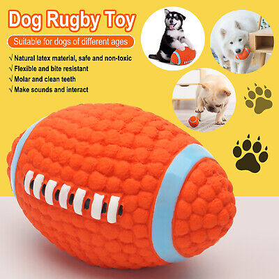 £7.99 • Buy 2Pcs Pet Dog Rugby Ball Toy Soft Squeaky Latex Dog Interactive Chew Play Ball UK