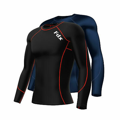 £11.50 • Buy FDX Mens Compression Armour Base Layer Top Long Sleeve Thermal Gym Sports Shirt