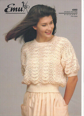 £2.25 • Buy Knitting Pattern For A Ladies Feather And Shell Short Sleeved Cropped Top In DK