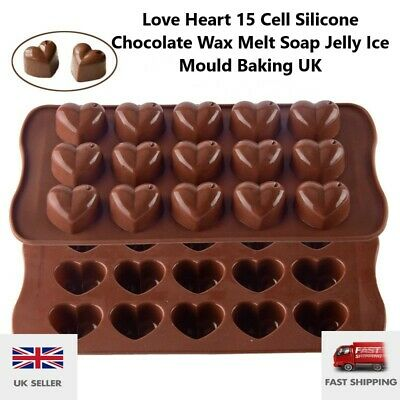 £2.85 • Buy Love Heart 15 Cell Silicone Chocolate Wax Melt Soap Jelly Ice Mould Baking UK