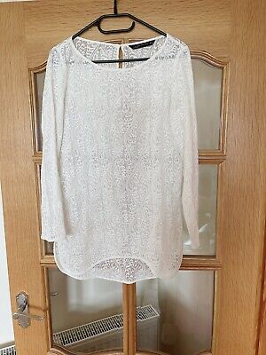 £10 • Buy Zara White Lace Look Cover Dress/ Top/ Bikini Cover Up Size Small