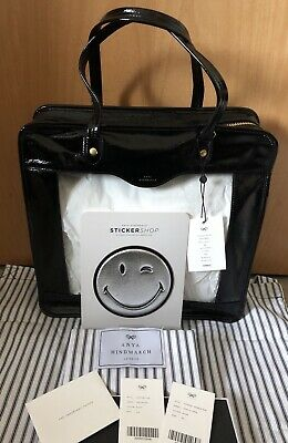 £175 • Buy Anya Hindmarch 😉 Black Rainy Day Tote Bag Leather & Vinyl & One Silver Smiley