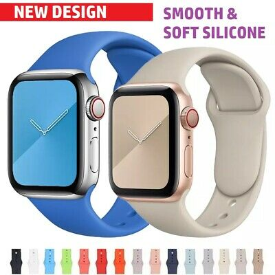 £5.01 • Buy Iphone Apple Watch Rubber Strap Sport Band IWatch 6 Se 5 4 3 Soft Silicone Wrist