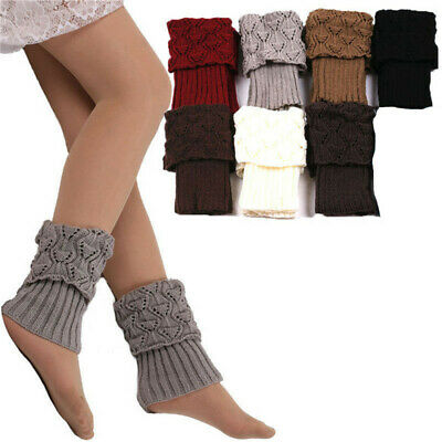 £3.39 • Buy Women Crochet Knitted Leg Ankle Warmers Winter Toppers Short Boot Cuffs Cover IT
