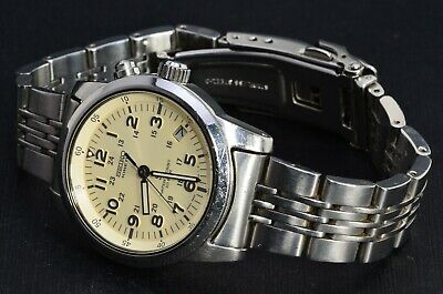 $ CDN201.40 • Buy Seiko 5M42-0G20 SUS Ivory White Military Dial AGS/Kinetic Stainless 876
