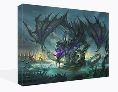 £14.99 • Buy Canvas Print Wall Art Of A Fantasy Purple Dragon And Skull Picture Ready To Hang