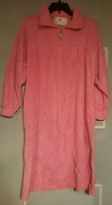 £19.53 • Buy Vintage Stan Herman Terry Chenille Front Zip Up Robe Cover Up Pink M/L
