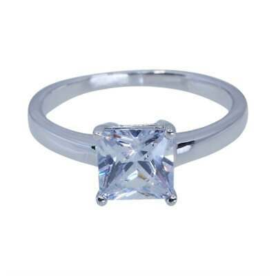 £22.99 • Buy Size N 1/2  925 Silver Princess Cut Created Diamond Solitaire Engagement Ring
