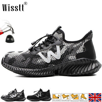£24.99 • Buy Womens Steel Toe Cap Safety Shoes Trainers Hiking Walking Mens Work Boots Black