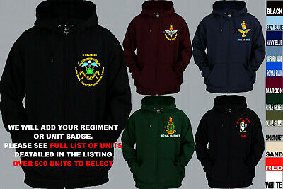 £28.50 • Buy Units A To D Army Royal Navy Air Force Marines Regiment Zip Up Hoody Xs To 5xl