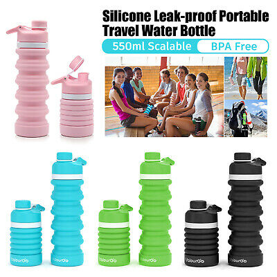 £5.99 • Buy 550ml Water Bottle Collapsible Leakproof Soft Silicone - BPA Free Coffee Cup UK
